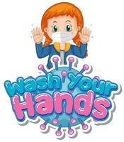 Girl Holding Up Hands with ''Wash Your Hands'' Text vector