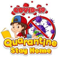 ''Quarantine Stay Home'' with Girl Laying with Book vector