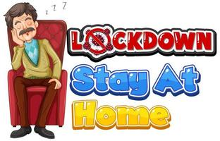 ''Lockdown'' with Older Man Sleeping on Chair vector