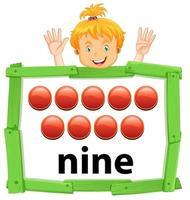 niña levantando nueve dedos