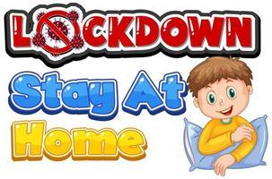 '' encierro, quédese en casa '' con el niño sosteniendo la almohada vector