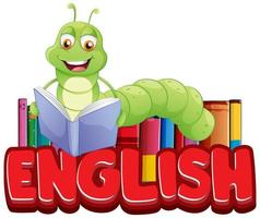 ''English'' with Bookworm Reading Book vector
