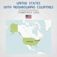 United States Map with Neighbouring Countries vector