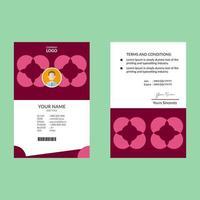 modelo de design de cartão de identificação vertical rosa vetor