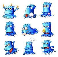 Nine Blue Monsters Set vector