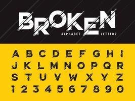 grunge lineair gestileerd afgerond lettertype vector