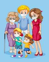 familia de pie juntos usando mascarillas vector