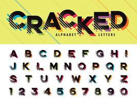 Cracked Alphabet Letters and numbers vector
