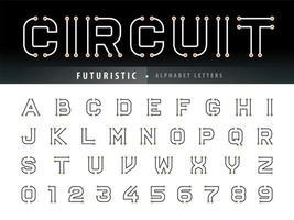 números e letras do alfabeto de circuito vetor