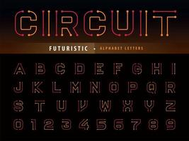 Future lined stylized font vector