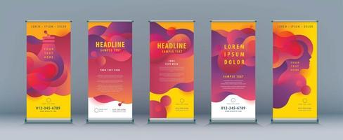 Liquid Shape Roll Up Set vector