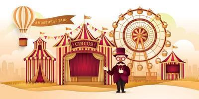 paisagem de parque de diversões de circo com roda gigante vetor