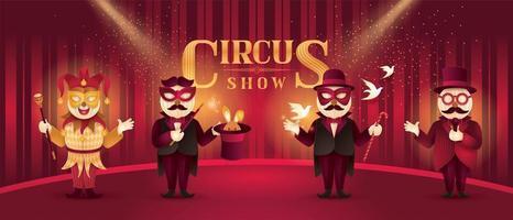 artistas de circo atores mostram conjunto vetor