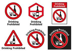 Drinking Prohibited No alcohol Sign Set  vector
