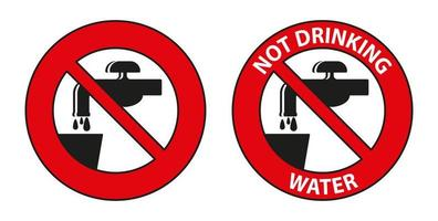 conjunto de sinal de símbolo de água potável vetor