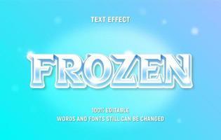 texto congelado blanco y azul brillante editable vector