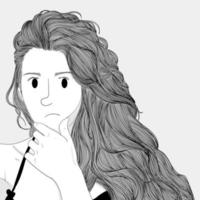 Unhappy woman with long hair holding chin vector