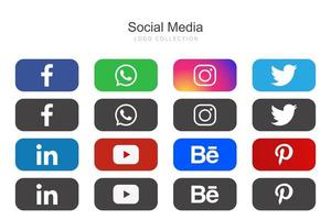 Rounded Rectangle Social Media Icons Set vector