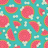 Retro watermelon slice and flower seamless pattern