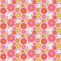 Retro seamless floral pattern with pink tones