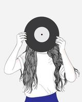 Hand drawn woman holding record over face vector