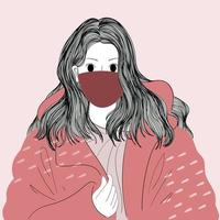 Hand drawn masked woman in oversized coat