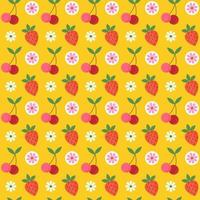 Retro cherry and strawberry seamless pattern