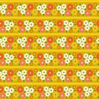Retro flowers stripe seamless pattern