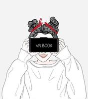 Woman watching movies through vr box glasses vector