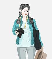 Woman holding a camera  vector
