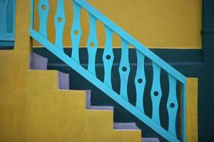 colorful handrail and steps photo