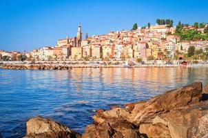 Scenic view of colorful Menton village, Provence