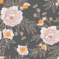 Seamless pattern of peonie flowers