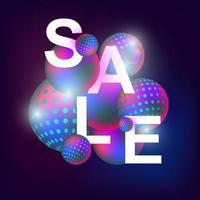 3D realistic sale banner neon balls