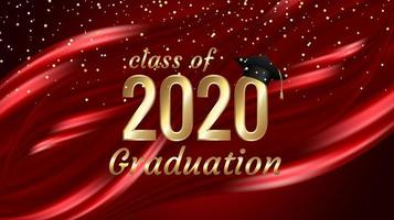 Class of 2020 graduation gold text design on red  vector