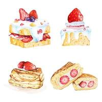 Strawberry cake drawn in watercolor