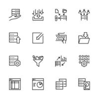 Set of data processing activity line icons vector