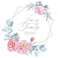 Invitation frame rose painted with watercolor  vector