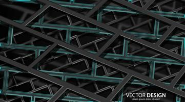 Abstract 3d black and dark green geometric architectural background  vector