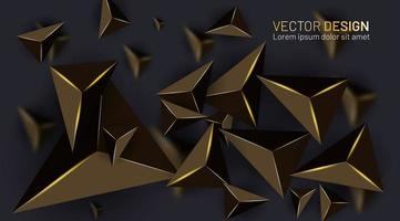 Abstract gold 3d triangle texture shape background  vector