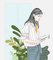 mujer leyendo un libro vector