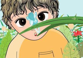 niño en medio del prado vector