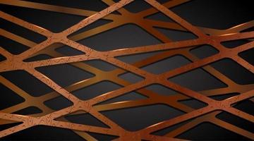 Resumen superposición de correas de línea de oro y cobre en 3D vector