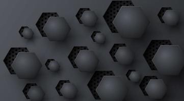 relief découpé hexagone noir motif abstrait vecteur