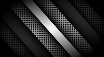 Dark overlapping 3D black and grey with silver background  vector