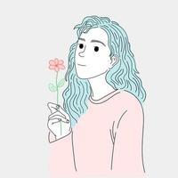 mulher com cabelo comprido vetor