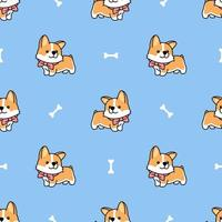 Cute welsh corgi puppy seamless pattern