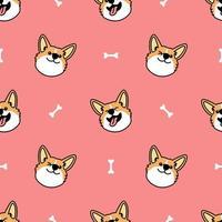 lindo gallo corgi perro cara de dibujos animados de patrones sin fisuras vector
