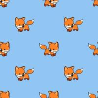 Cute baby fox cartoon seamless pattern vector