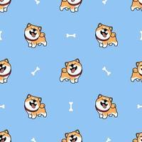 Gracioso shiba inu perro sonriendo dibujos animados de patrones sin fisuras vector